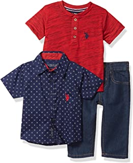 U.S. Polo Assn. 男宝宝裤子套装 Plaid/Red Multi 2 Years