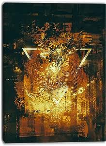 "Designart ""Abstract Golden Elements Digital"" Canvas Art Print"