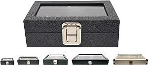 玻璃顶部珠宝戒指/宝石罐展示盒 黑色人造革 Small: 6X3.75X2 B015JP63NS