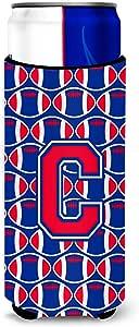 Caroline's Treasures CJ1076-CLITERK Letter C Football Harvard Crimson and Yale Blue Wine Bottle Koozie Hugger, 750ml, Multicolor