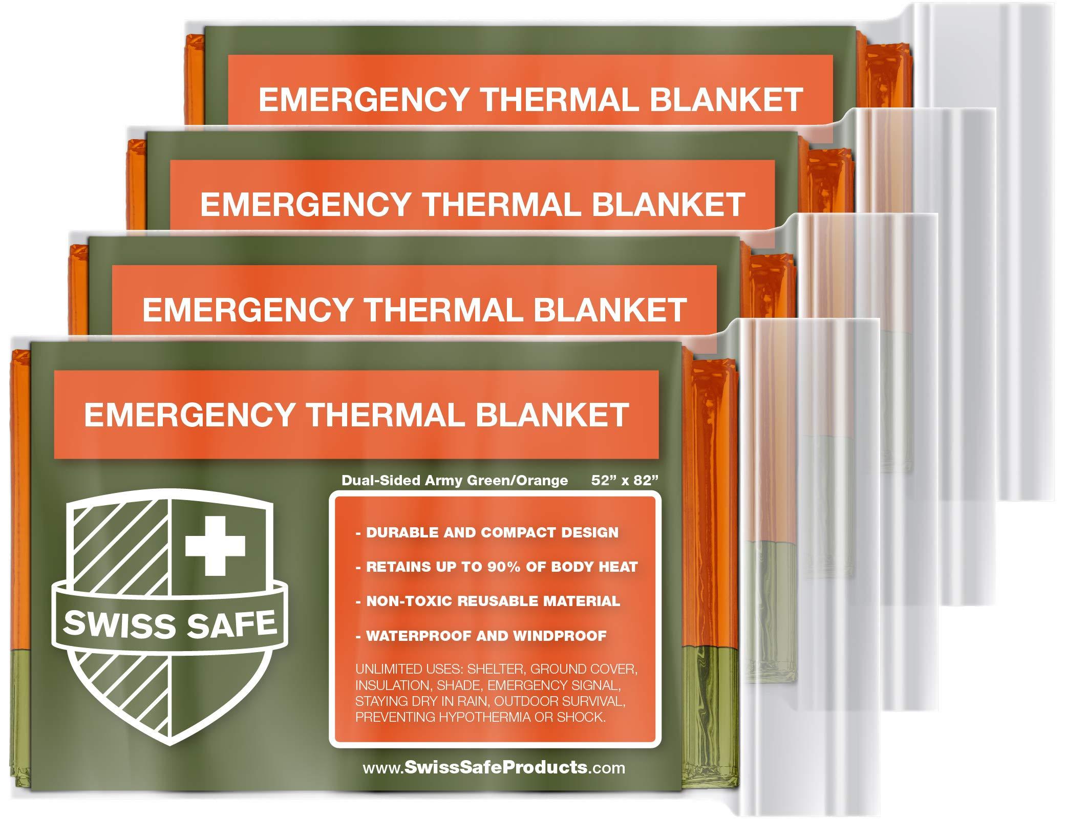 スイススペースブランケット箔*緊急ポリエステル熱毛布(4がインストールされている)+ギフト署名金:NASA、アウトドア、ハイキング、生存、救急マラソンや設計のために設計されました