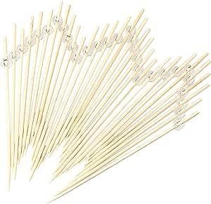 "Simply Baked 小Appetizer & Cocktail Pick,天然木块上的金属银球,一次性坚固,400 支装,8.89 cm 长 6"" Clear 6"" Long - Pack of 30 PPL-106"