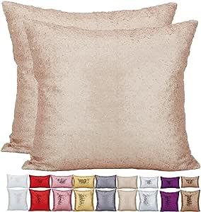 KAOPUS 装饰枕套纯色轻质单面闪光亮片(不同颜色和尺寸)垫套带隐形拉链 2 件适用于沙发无枕芯 米色 40x40cm