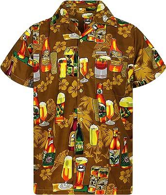 V.H.O 时尚夏威夷衬衫男式短袖正面口袋啤*派对多色 浅棕色 XXXXXXX-Large