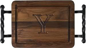 "CHUBBCO W200-STWB-Y Thick Bar/Cheese Board with Twisted Ball Handle, 9-Inch by 12-Inch by 3/4-Inch, Monogrammed""Y"", Walnut"