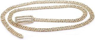 Topwholesalejewel 婚礼首饰镀金 111.76 厘米水钻双线金珠腰带