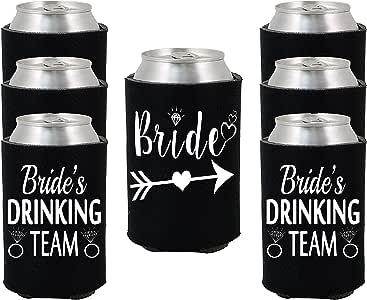 Shop4Ever Bride and Bride's 饮用水团队可以Coolie 婚礼饮料冷却器冷却器 黑色 I_S4E_BrideDrink_Koozie_Black_6