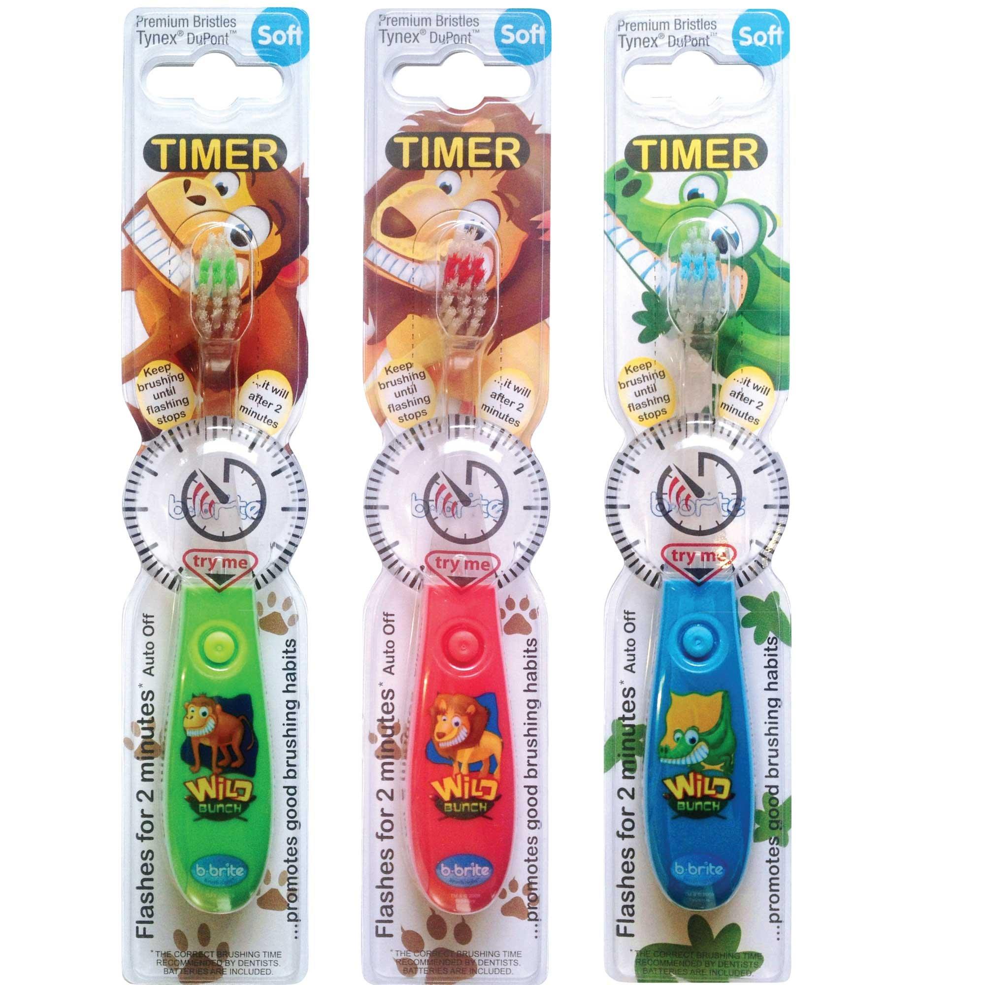 儿童牙刷带闪烁计时器–3件装男童–野生 bunch