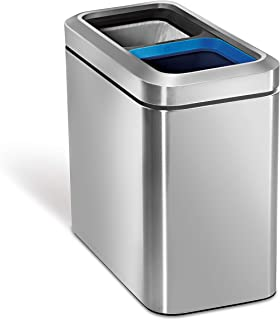 simplehuman, Slim Open Recycler Trash Can, Stainless Steel, 20 L / 5.3 Gal