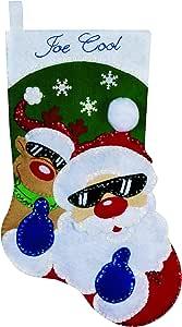 Design Works 圣诞老人和驯鹿毛毡长袜,多色