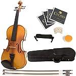 Mendini MV400 乌木合身实木小提琴带硬壳、肩托、蝴蝶结、玫瑰花、额外的琴桥和琴弦1/2MV400 Size 1/2