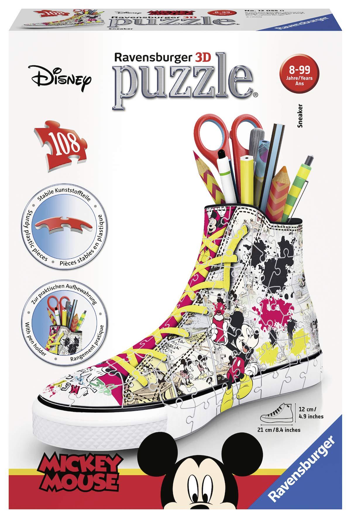 Ravensburger 意大利 12055 - Disney 经典运动鞋米老鼠拼图,3d 铅笔盒