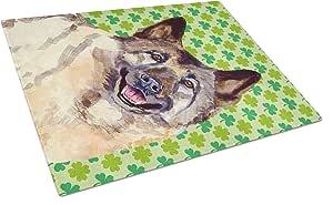 Caroline's Treasures Norwegian Elkhound St.Patrick's Day Shamrock Glass Cutting Board, Large, Multicolor
