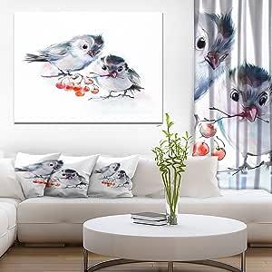 """树枝上的鸟与红浆果动物 帆布艺术墙照片艺术品印刷品 红色 12"""" H x 20"""" W x 1"""" D 1P PT14996-20-12"""