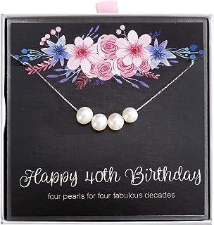 ALoveSoul 40 岁生日礼物 - 4 周年珠宝 40 岁 4 颗珍珠 925 纯银项链 送给她的 1980 生日礼物创意