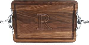 """CHUBBCO W210-SLH-R Thick Cutting Board with Longhorn Cast Aluminum Handle, 10.5-Inch by 16-Inch by 1-Inch, Monogrammed """"R"""", Walnut"""