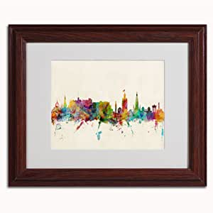 Trademark Fine Art Edinburgh Scotland Skyline III Canvas Art by Michael Tompsett, 11 by 14-Inch, Wood Frame