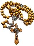 Nazareth Store 木珠念珠项链 Saint Benedict Medal & Catholic Cross Religious 祈祷 Chaplet String 手工制作 - 天鹅绒袋