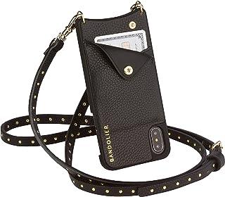Bandolier Nicole - 与 iphoneX 兼容,较小的 iPhone 更小。 可调节可拆卸肩带金色小饰钉明星风格花式外壳。 手提包、钱包、包。 iPhone X/iPhone XS 黑色/金色