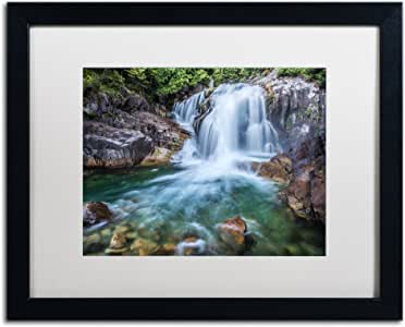 Trademark Fine Art Golden Ears Falls White Matte Artwork by Pierre Leclerc, 16 by 20-Inch, Black Frame