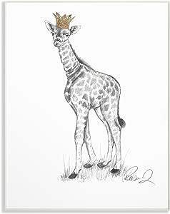 Stupell 家居装饰系列长颈鹿皇家石墨绘画拉伸帆布墙画 多种颜色 13 x 19 aap-133_wd_13x19