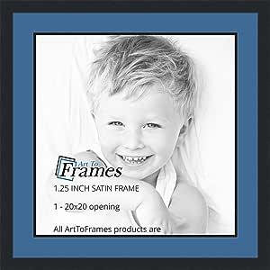 ArtToFrames 字母摄影相框 1-22x22 开口。 缎面黑框。 Liberty 蓝色 1-20x20 Double-Multimat-655-817/89-FRBW26079