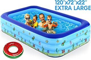 """ZingVic 家庭充气游泳池,120"""" X 72"""" X 22"""" 全尺寸充气休闲泳池,适合婴儿、儿童、成人、婴儿、幼儿,适合3岁以上儿童,户外、花园、后院、夏季水上派对"""
