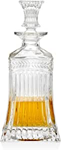 Godinger Silver Art Symphony Crystal Collection Square Whiskey Decanter, 500 ml