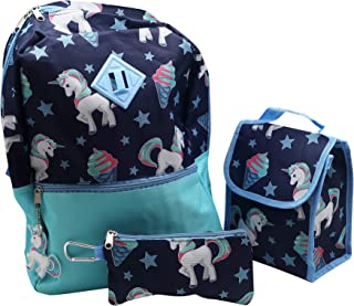 Forest & 12 岁儿童 5 件套独角兽背包,可爱女孩书包,带钥匙链,午餐袋,登山扣,铅笔盒,轻便耐用,易清洁的儿童书包