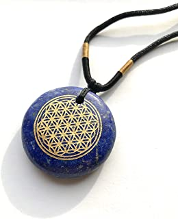 Ezina Designs 冥想系列生命花抛光宝石护身符吊坠青春石老虎*保护和* lapis lazuli