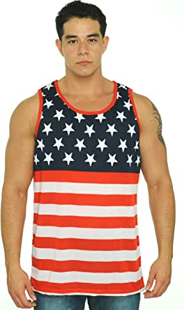 Patriotic American Flag Stripes And Stars Tank Top Shirt Adult Men's 红色 中