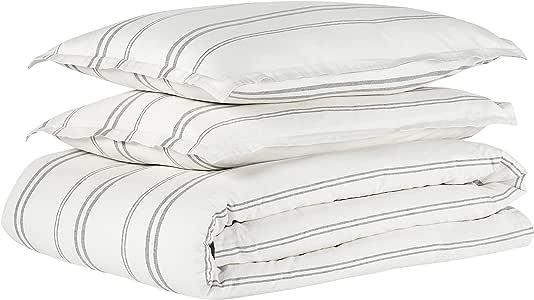 Rivet Classic Maxwell 服装 - 水洗条纹全套/中号双人床羽绒被套装 White With Gray Stripe King MAXWELL-K-G