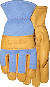 American Made Goatskin Leather Work or Garden Gloves with Leather Palm and Blue Spandex, 157C2, Size: 9
