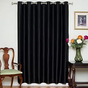 """遮光窗帘 80 英寸(约 203.2 厘米)或 100 英寸(约 254 厘米)宽,镍金属孔环高级保温绝缘窗帘片,有 84、96、和108 英寸(约 213.4、243.8 和 274.3 厘米)长可选。 黑色 80"""" W X 108"""" L BO-WN-081002"""