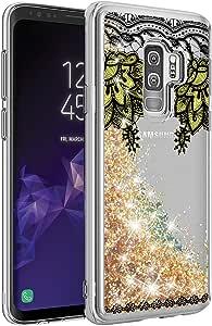 Galaxy S9 Plus 手机壳,三星 Galaxy S9 Plus 手机壳,[移动沙面液内部] 闪亮闪耀闪光 TPU 缓冲保护套纤薄保护套【跌落保护】 Gold Mandala
