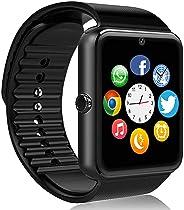FHDCAM 智能手表兼容 iPhone 5s/6/6s/7/7s 及以上安卓4.3,防丢失和计步器健身追踪器(部分功能)- 黑色