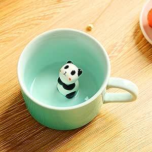 3D 咖啡杯 可爱卡通动物陶瓷杯 - Baby Animal Inside,*好的办公室杯子和生日礼物 226.8 g 熊猫 Panda801