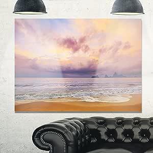 """设计艺术 MT10898-20-12 明亮的海上早晨 现代海岸金属墙壁艺术 蓝色/橙色 28x12"""" MT10898-28-12"""