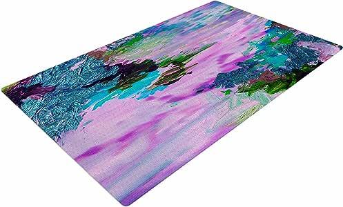 "KESS InHouse JD1117ADR02 Ebi Emporium""On Cloud Nine - 4"" 粉色蓝绿色编织小地毯,4 英尺 X 6 英尺,"