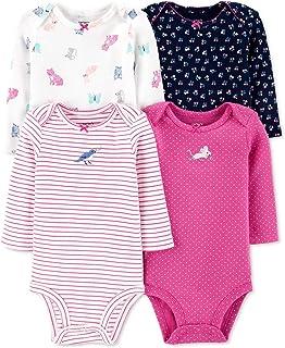 Carter's 男女宝宝通用长袖连体衣 4 件套  粉色动物 Newborn