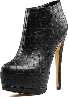Amy Q 性感女士黑色圆头超高跟及踝靴女士保暖防水台短靴