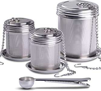 House Again 茶球冲茶器和烹饪茶壶,超细网茶注入器螺纹连接 2+1 pack
