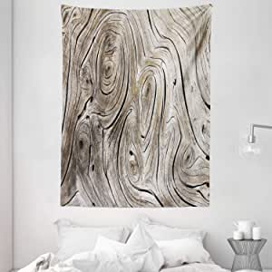 Rustic Home Decor Tapestry by Ambesonne, Life Cycle Age Circle of Inner Annual Rings Growth Years Whorls Dramatic Theme, Wall Hanging for Bedroom Living Room Dorm, 60WX80L Inches, Brown