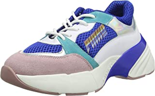 Pinko 女士 Zaffiro 運動鞋 Rete Tecnica 麂皮一腳蹬運動鞋 Multicolour (Blu/Bianco/Rosa Ezn) 7 UK