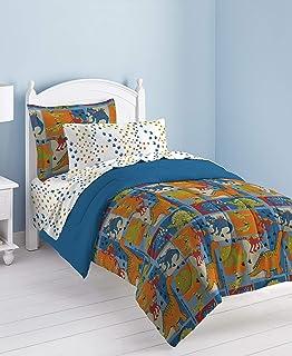 Dream Factory Dinosaur Blocks Ultra Soft Microfiber Boys Comforter Set, Blue, Full