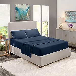 床单套装,亚马逊床单套装,深口袋床笠,* 豪华柔软超细纤维,低*性,清凉透气 *蓝 RV/Short Queen B01MUW9BHL