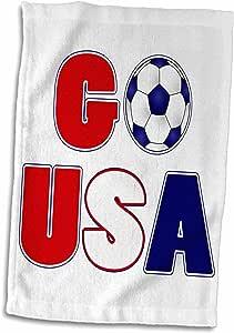 "3dRose Janna Salak Designs 运动 - 美国足球运动 - 毛巾 白色 15"" x 22"" twl_192890_1"