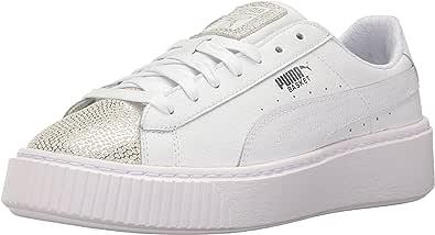 PUMA Basket Platform Glitz 儿童运动鞋 白色(Puma) 4 M US 儿童