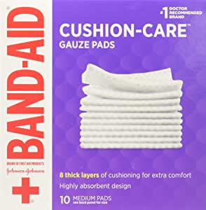 Band-aid Brand Cushion Care 不粘薄纱垫单独包装,中号 7.62 x 7.62 厘米,10 片(24 包)
