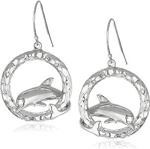 镀铑纯银海豚冲浪波浪形吊坠耳环